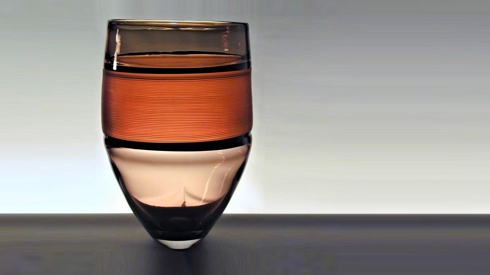 Stewart Hearn Hand Blown Glass Strata Vase, Grey, Black & Peach
