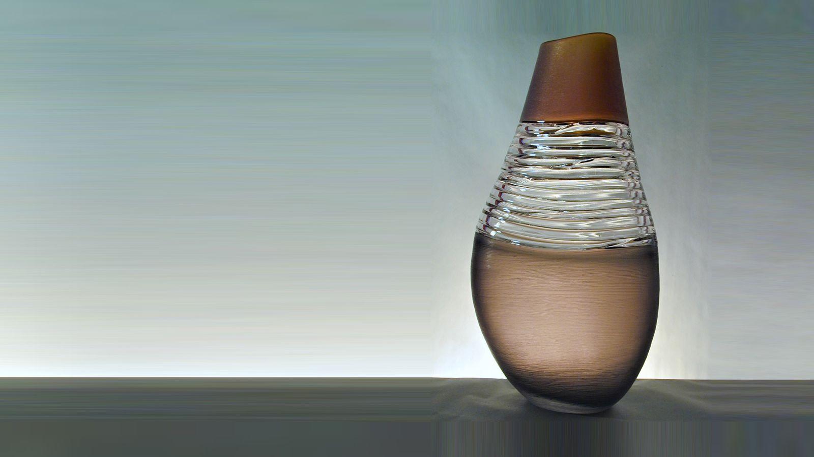 Stewart Hearn Hand Blown Glass Strata Vase, Amber & Grey with Clear Trails