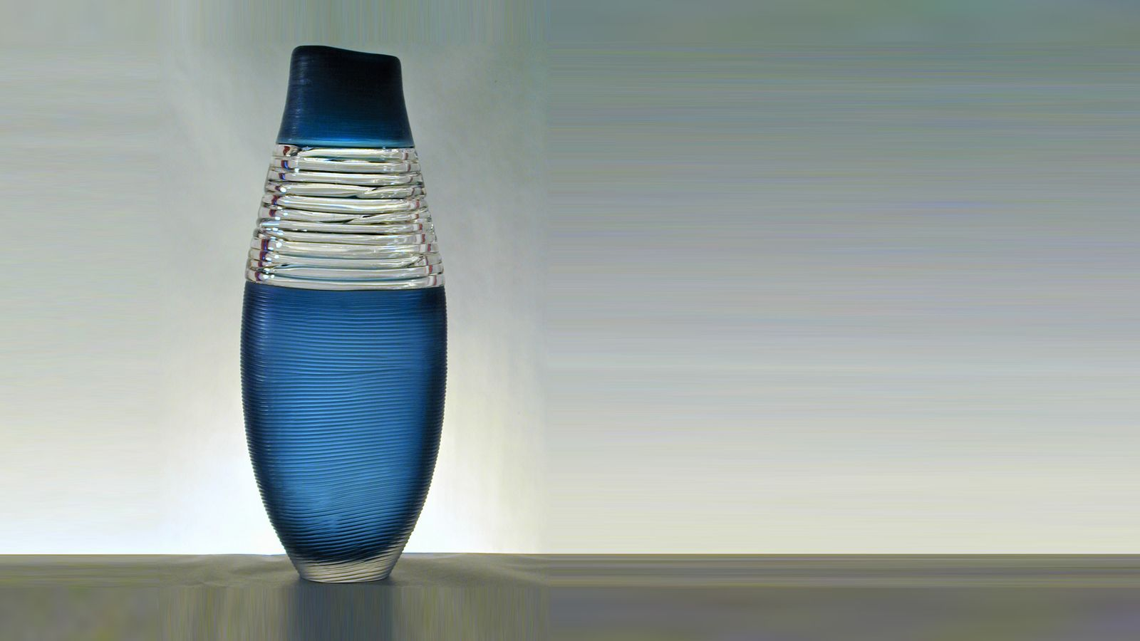 Strata Vase, Blue with Clear Trails