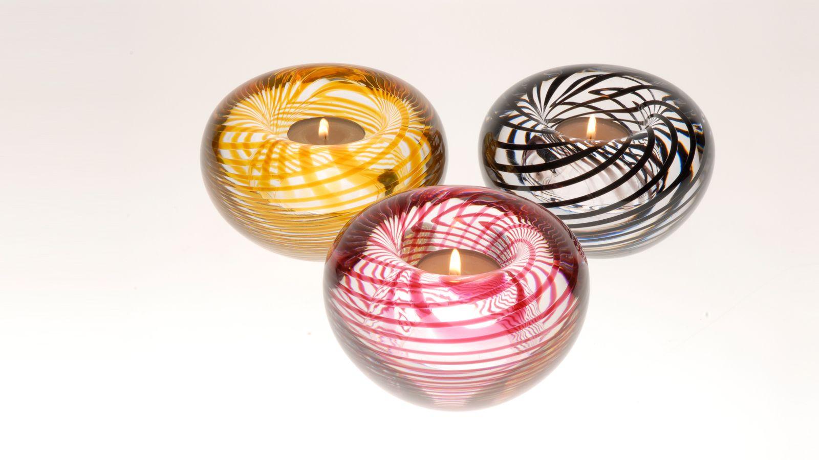 Stewart Hearn Hand Blown Glass Spiral Tea Lights, a Selection