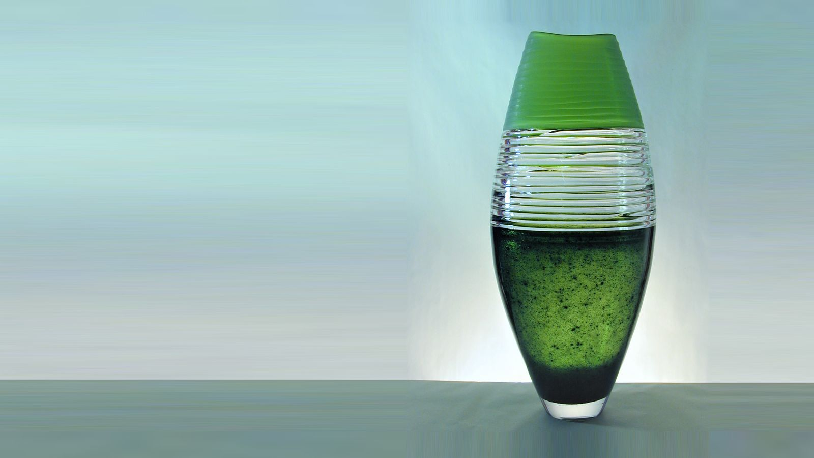 Strata Vase, Lime & Aventurin Green with Clear Trails