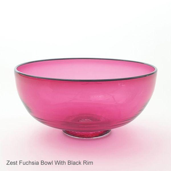 Zest Bowl | fuchsia with trailed rim