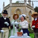 Group tea photo outside Gothic Library at Staunton Park