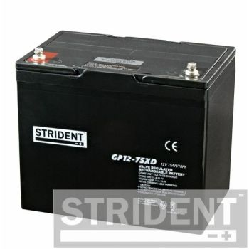 Pair of Strident 12 volt 75 Ah AGM batteries for mobility scooters