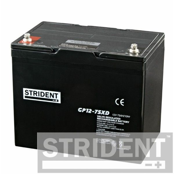Strident 12 volt 75 Ah AGM batteries for mobility scooters