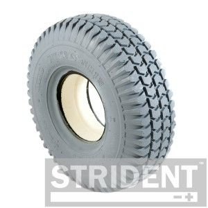 Set of 4 Grey Pneumatic tyres 2 Block, 2 Rib 3.00 x 4 260 x 85