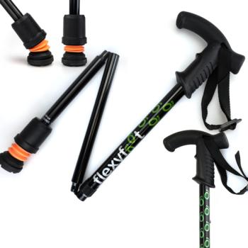 Derby Handle Flexyfoot folding walking stick in black
