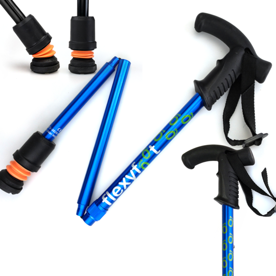 Felxyfoot folding walking stick in blue