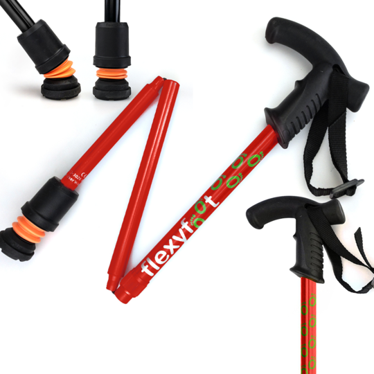 Flexyfoot folding walking stick with Derby Handle in red