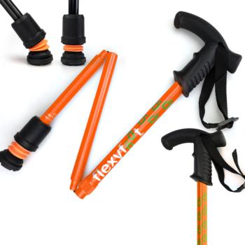 Flexyfoot folding walking stick in Orange with Derby handle