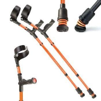 Orange Flexyfoot Comfort Grip Double Adjustable Crutches