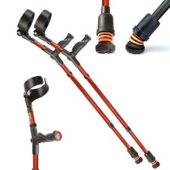 Red Flexyfoot Comfort Grip Double Adjustable Crutches