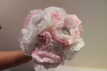 Bridal Bouquet Shabby Chic Fabric Flowers