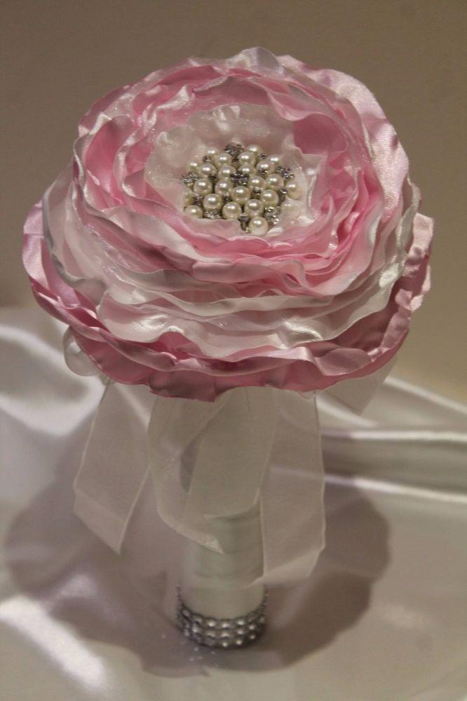 Large Fabric Flower Wedding Bouquet
