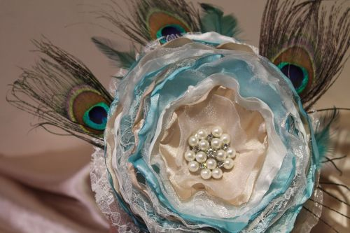 Large Single Flower Peacock Feather Wedding Bouquet