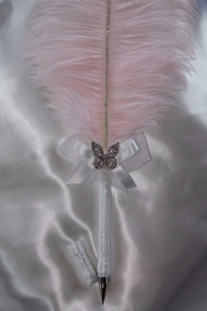 Large Pale Pink Ostrich Feather Pen with Embellishment