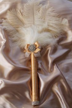 Gatsby Style Cream Ostrich Feather Wedding Bouquet