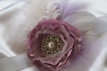Flower and Feather Wrist Corsage