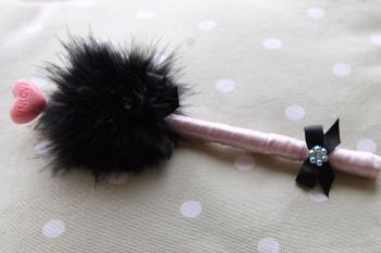 Black Puff Pen with In Love Lollipop Embellishment