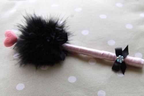 Black Puff Pen with In Love Lollipop Embellishment