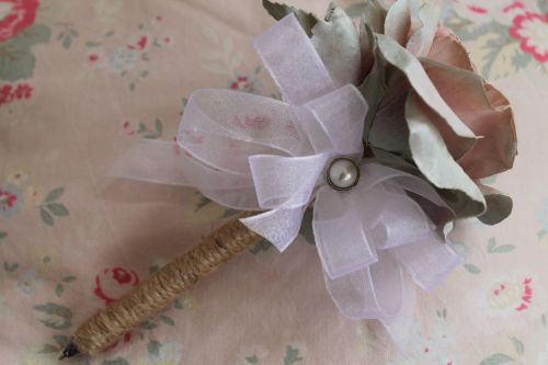 Large Pale Pink & Duck Egg Blue Rose Flower Pen with Embellishment