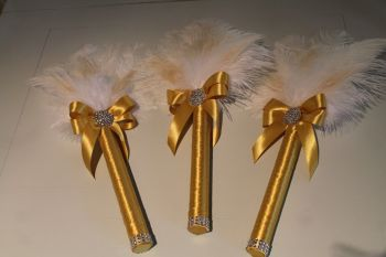 Gatsby style Ostrich & Peacock Feather Wedding Bouquets set of 3