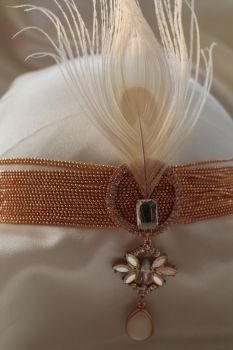 Peacock & Crystal Jewel Wedding Headband