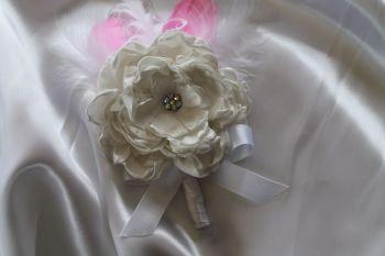 Handmade Flower & Feather Boutonniere