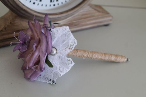 Lilac Rose Flower Pen with Butterfly & Pearl Embellishment