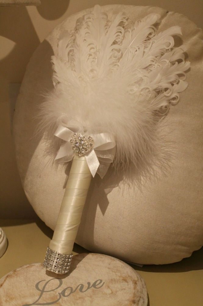 Small White Feather Wedding Fan Bouquet