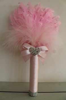 Small Pink Feather Wedding Fan Bouquet