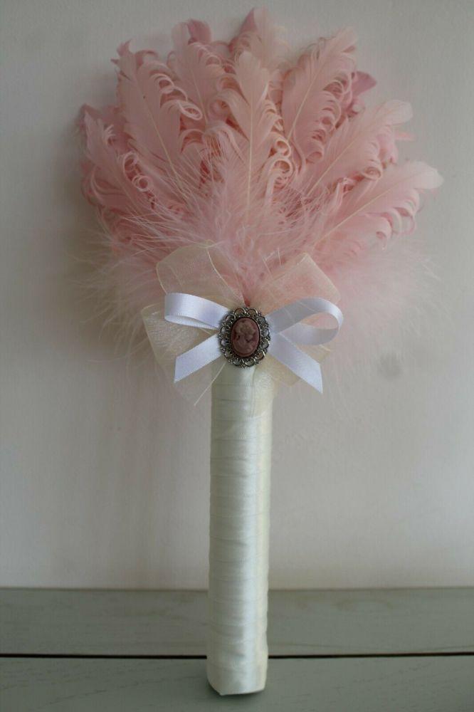 Pale Pink Feather Wedding Fan Bouquet