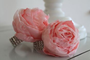 Large pale peach peony rose crystal wedding wrist corsage