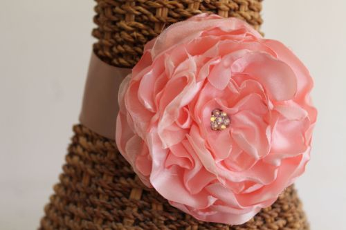 Wedding ribbon choker necklace with large handmade pale peach flower