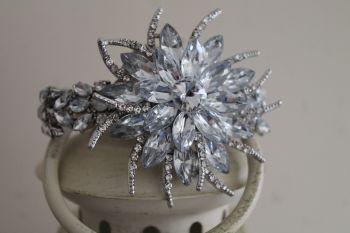 Wedding Crystal Brooch Silver Flower wrist corsage