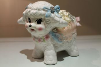 Nursery Vintage Pottery Curly Baa Lamb planter,  Birth of baby, or christening