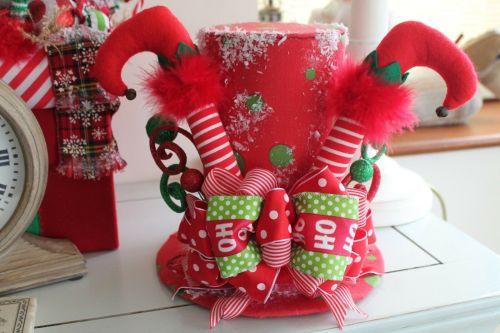 Whimsical Elf Leg Top Hat Tree Topper