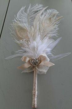 Peacock Cream Feather Wedding Pen
