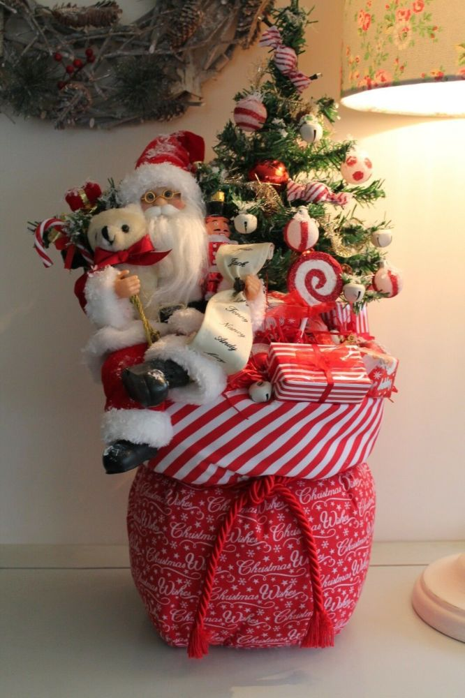 Christmas Toy Sack with Santa and Decorated Christmas Tree Ornament