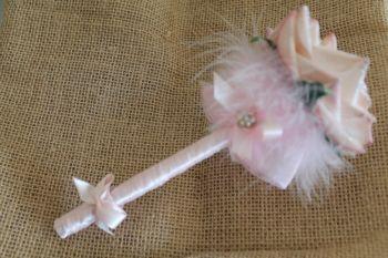Christmas Glittered Pink Fluff Flower Pen