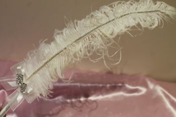 Large White Hand-Curled Ostrich Feather Pen