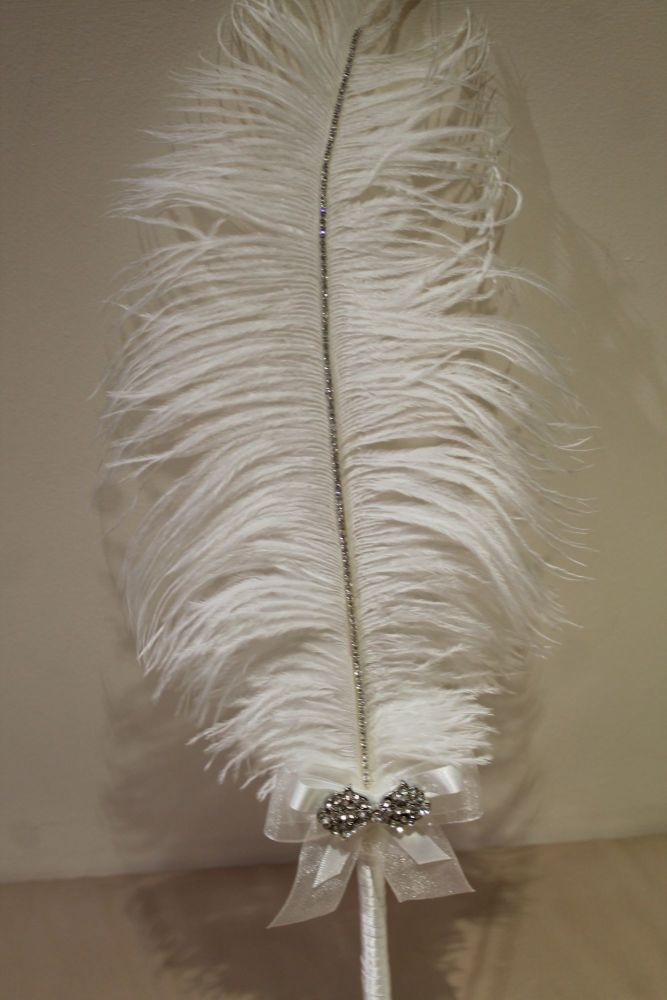 Large White Ostrich Feather Pen