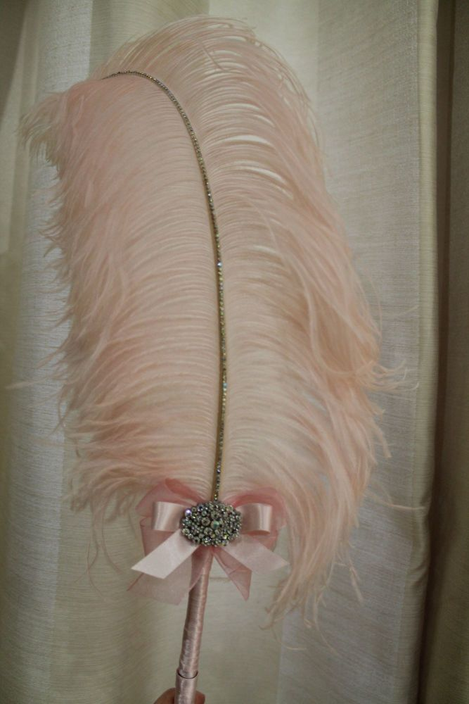 Extra Large Pale Pink Ostrich Feather Pen