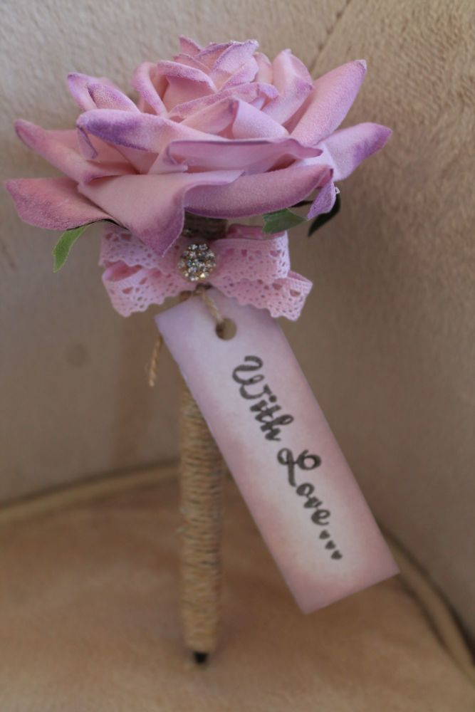 Lilac Rose Flower Pen with a 'With Love' Tag