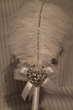 Large White Ostrich Feather Pen with Heart Embellishment