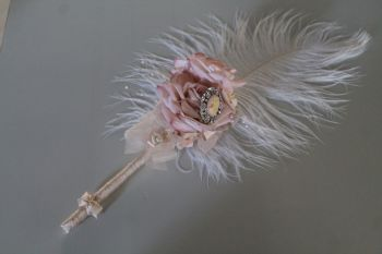 Marie Antoinette Feather Pen with Flowers and Embellishment