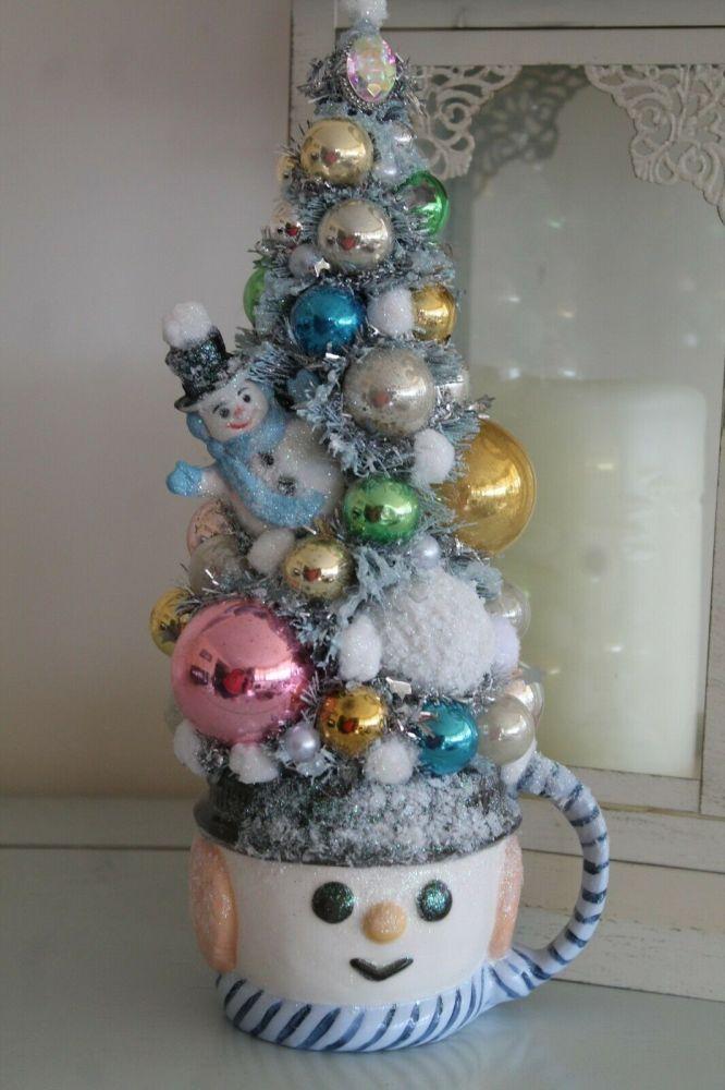 Christmas Vintage Bottle Brush Tree with Snowman Planter/Mug