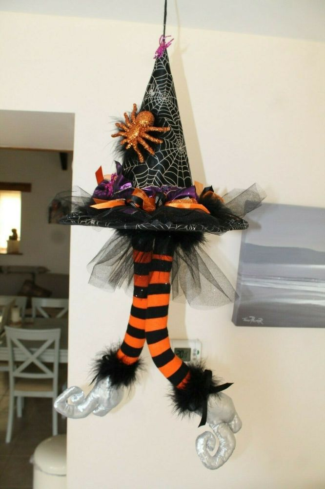 Hanging Witch Hat with Poseable Legs