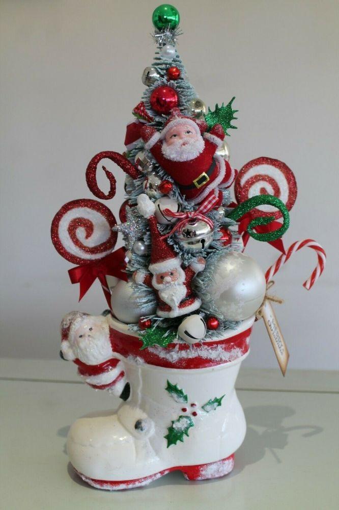 Christmas Santa Boot Planter Bottle Brush Tree Ornament