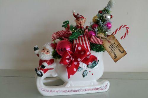 Christmas Vintage Santa Sleigh Planter Bottle Brush Tree Ornament